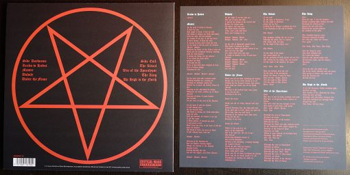 """The Ritual"" back cover with lyric insert."